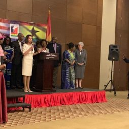 Nancy Pelosi in Ghana with Appolonia CEO